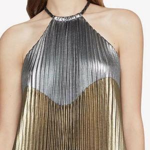 Bcbg Maxazria Metallic Colorblocked Pleated Gown